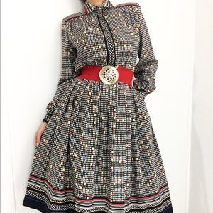 Vintage Confetti Print Dress